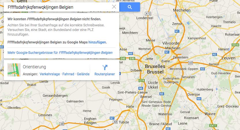 Screenshot Google Maps auf der Suche nach Fffffsdafnjkqfenwqkljingen
